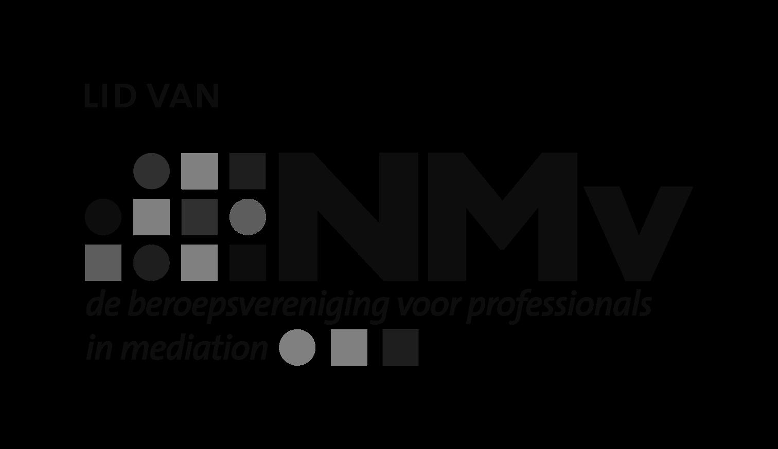 Logo nederlandse mediatorsverenigning nmv lid van300dpi zwart