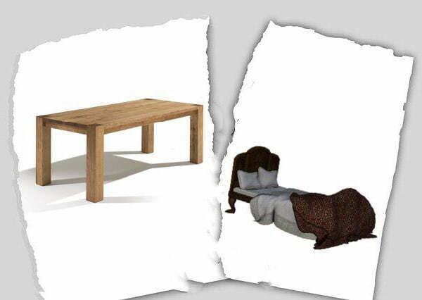 Scheiding van tafel en bed